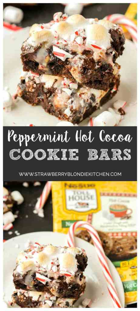 Have your hot cocoa and eat it too with these Peppermint Hot Cocoa Cookie Bars. They feature 7 layers of delicious cookies, chocolate, peanuts, coconuts, marshmallows and peppermint and then drizzled with sweetened condensed milk | Strawberry Blondie Kitchen