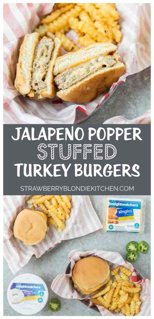 All the flavors you love of a classic appetizer now stuffed into a delicious, better for you burger. These Jalapeno Popper Stuffed Turkey Burgers are packed with 4 types of cheese, spicy jalapenos and bacon. They're a spicy flavor packed bomb of cheesy goodness! | Strawberry Blondie Kitchen