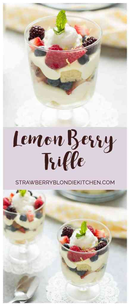 Celebrate the bountiful berries of the season with this Lemon Berry Trifle. Strawberries, blueberries, raspberries and blackberries are layered between tart lemon pudding, whipped cream and studded with delicious pound cake. The perfect summer dessert for all your backyard parties! | Strawberry Blondie Kitchen