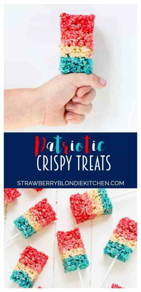 Reminiscent of the classic bomb pop, with much less mess, these Patriotic Crispy Treats are not your ordinary dessert. They're layers of flavors with strawberry, vanilla and blue raspberry. A fun, new and Patriotic twist on everyone's favorite past time treat. Perfect addition to your next American party!   Strawberry Blondie Kitchen