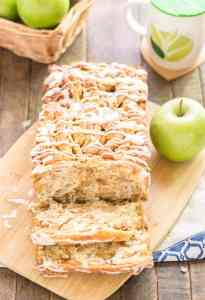 A quick layered bread filled with chopped apples, cinnamon, brown sugar and drizzled with a cream cheese glaze. Sure to give Apple Pie a run for its money! | Strawberry Blondie Kitchen