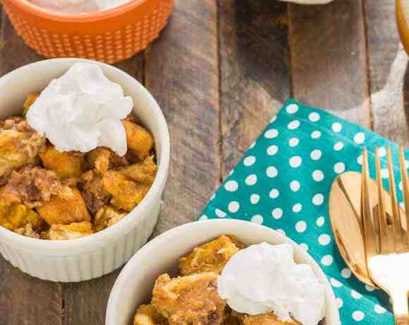 Pumpkin Bread Pudding with Brown Sugar Sauce