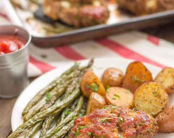 Sheet Pan Mini Meatloaves with Potatoes & Green Beans