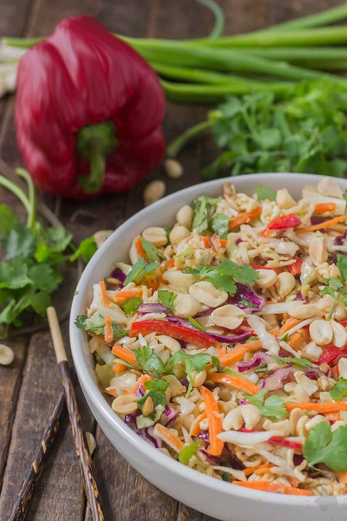 Simple and delicious, this Asian Sesame Noodle Slaw comes together quickly with a little help from P.F. Chang's Sesame sauce for you to be side dish ready in 5 minutes!   Strawberry Blondie Kitchen