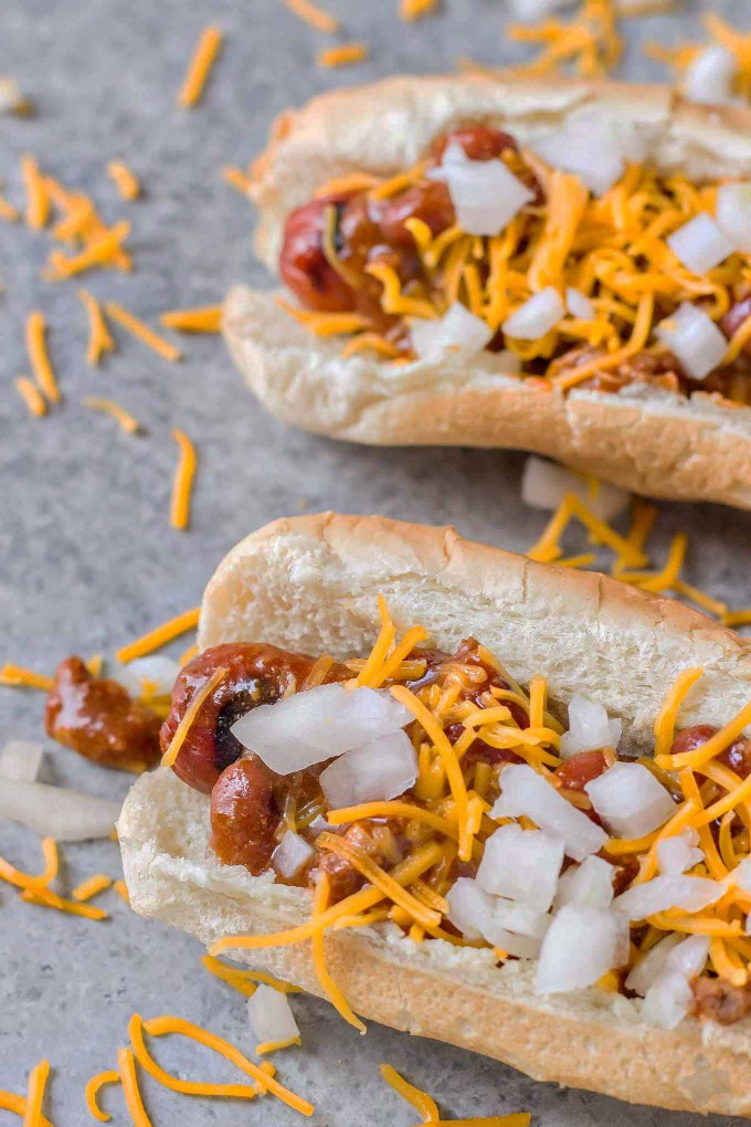 """There is something about a hot dog smothered in chili and topped with cheese that has us yearning for the """"good ole days."""" Take a stroll back to childhood with this Easy Chili Dog. 