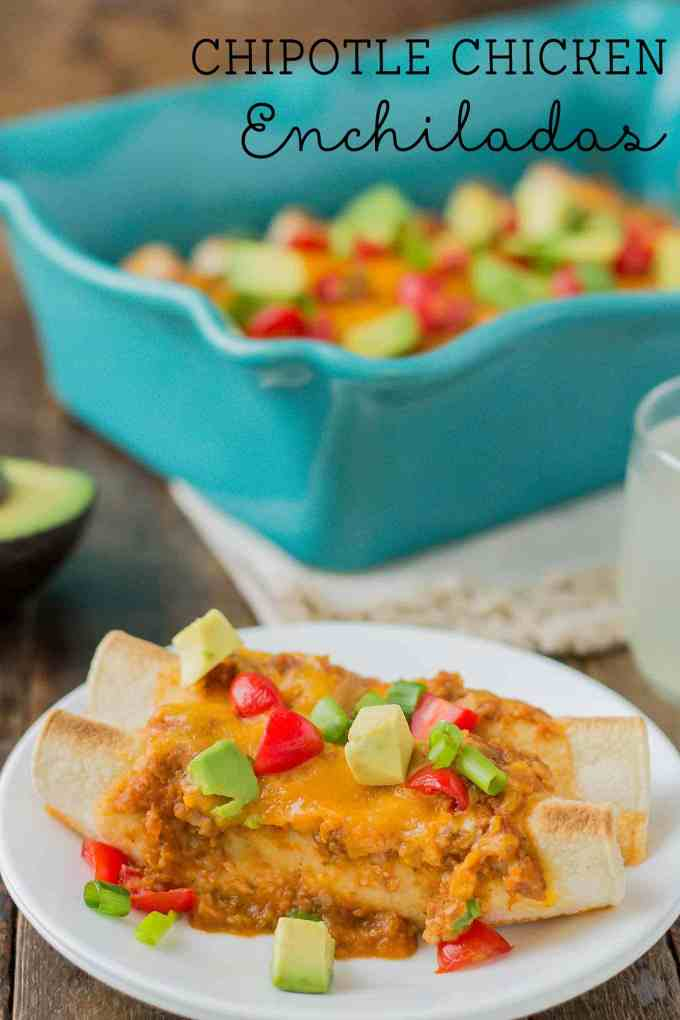 Chipotle Chicken Enchiladas are tasty, filling and come together in a snap thanks to rotisserie chicken and Pop & Cook. Perfect for an easy weeknight meal that is sure to please the whole family! | Strawberry Blondie Kitchen