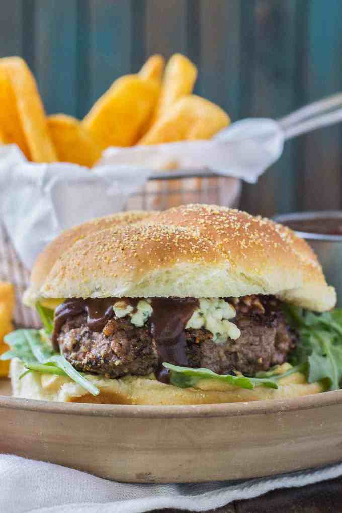 Peppercorn Blue Cheese Burgers with Cherry Sauce