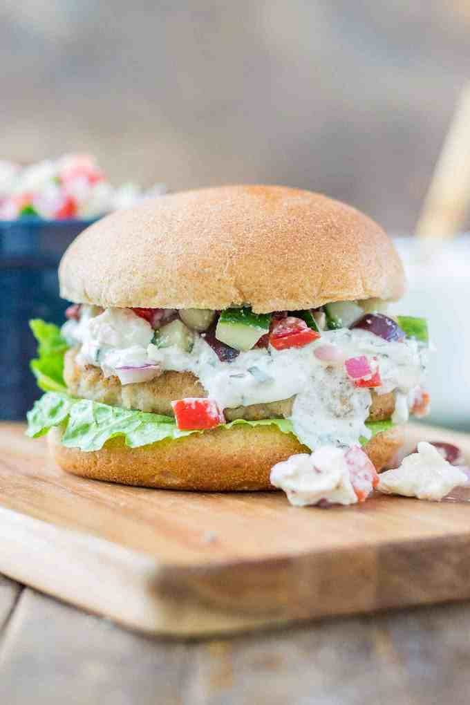 Greek Turkey Burgers with Cucumber Tomato Relish
