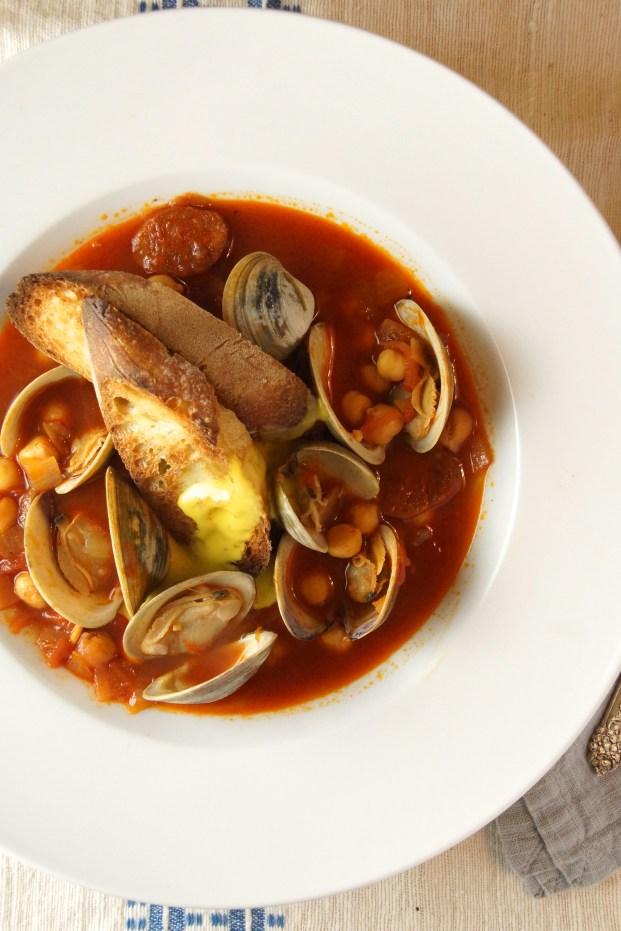 Chickpea, Chorizo & Clam Soup with Saffron Aioli