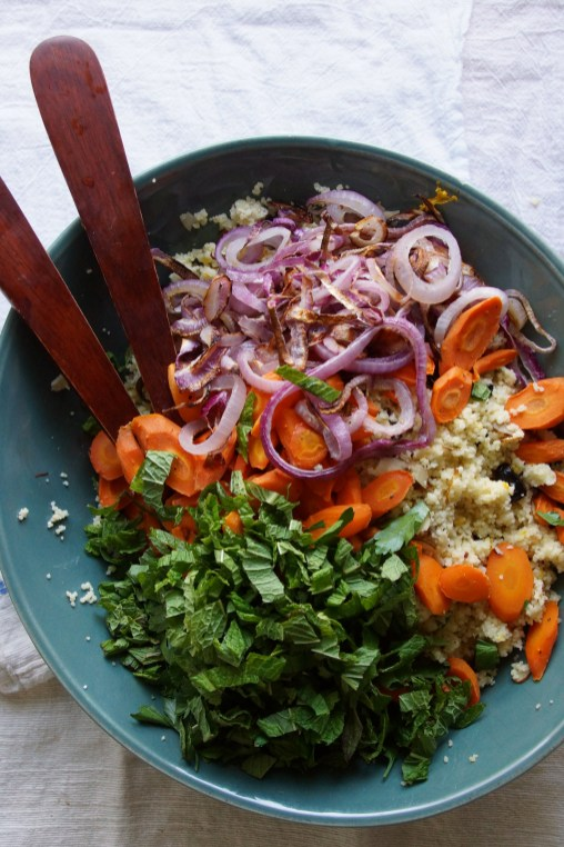 Couscous Salad with Roasted Carrots, Mint & Olives