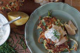 Zucchini Pancakes with Smoked Trout & Dill Yogurt
