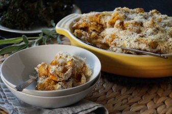 Baked Pasta with Pumpkin, Caramelized Onions, and Chevre