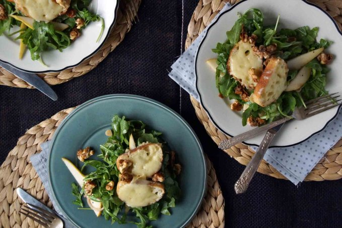 Pear and Arugula Salad with Candied Walnuts and Cheese Croutons