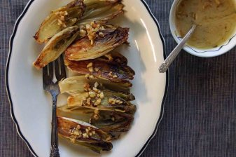 Roasted Belgian Endive with Walnut Vinaigrette