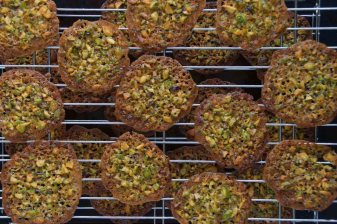 Pistachio, Orange, and Honey Florentines