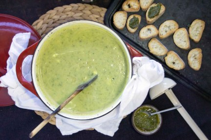 Zucchini Chèvre Soup with Basil-Mint Croutons