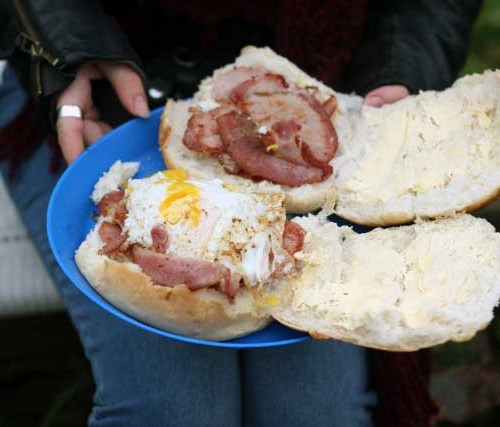 Fresh eggs and bacon butties | Strawberry Squeeze 1