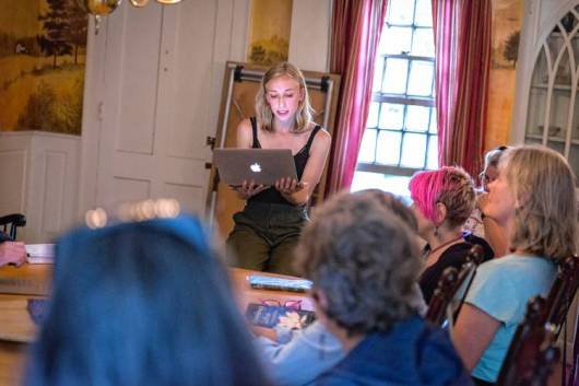 Laura Roth reads a selection of her poems at the Straw Dog Writers Guild's writers read at the Inn at Norton Hill in Ashfield, Sunday, August 6, 2017.