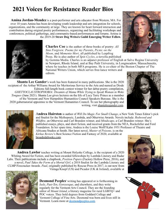 Voices for Resistance Reader bios picture