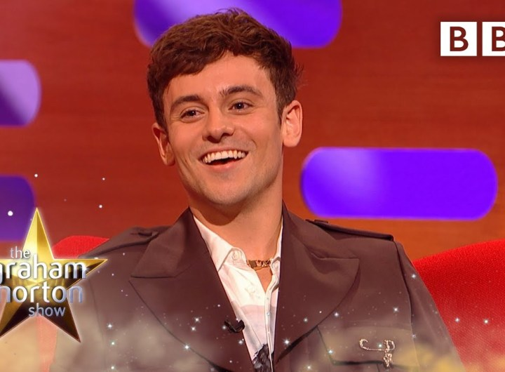 Tom Daley shows off his adorable pouch 😍 @The Graham Norton Show ⭐️ BBC