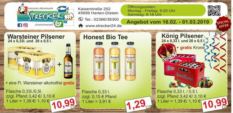 Warsteiner Gratis Flasche. Honest Bio Tee. König Pilsener Gratis Krone.