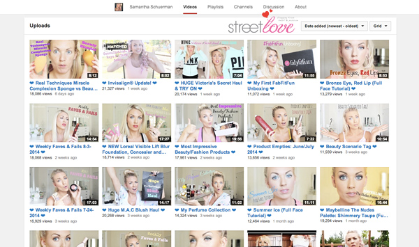 YouTube Favourite 12 Samantha Schuerman