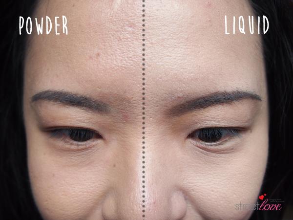 Colours Cosmetics Malaysia Flat Top Foundation Brush Liquid vs Powder Forehead Comparison