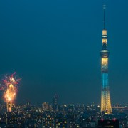 Tokyo Skytree with fireworks