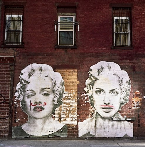 madonna and angelina jolie street art in meatpacking district NYC