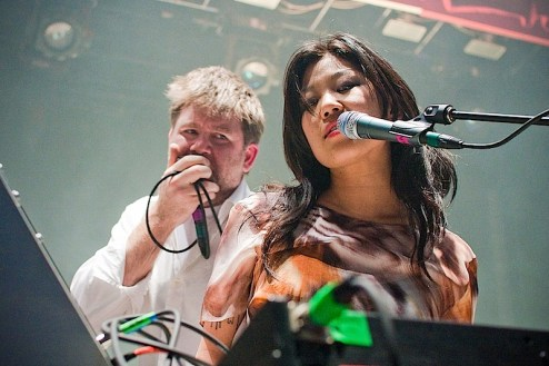 Nancy Whang and James Murphy of LCD soundsystem play a pre-coachella show at Webster Hall in NYC