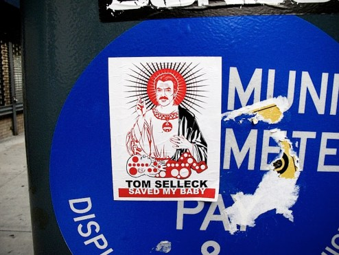 tom selleck saved my baby sticker in NYC