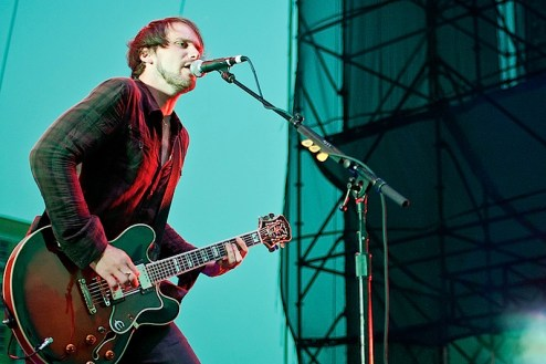 brian aubert of the silversun pickups performs at the williamsburg waterfront