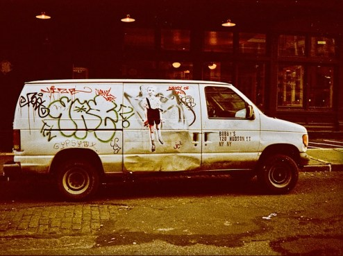 bubby's van with grenade boy by army of one street art in NYC