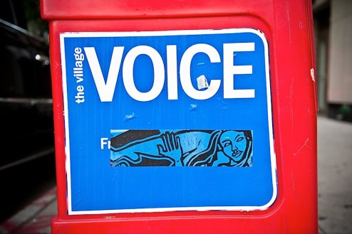 a sticker by street artist celso on a village voice box in the east village of NYC