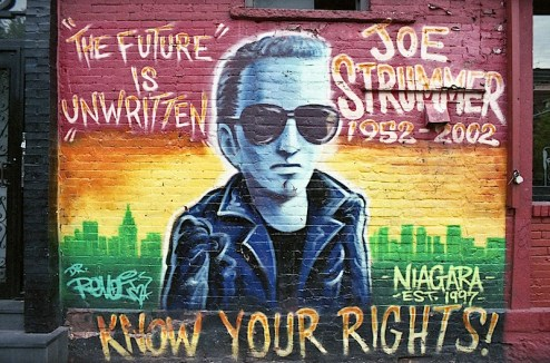 joe strummer mural on the side of niagra bar in NYC