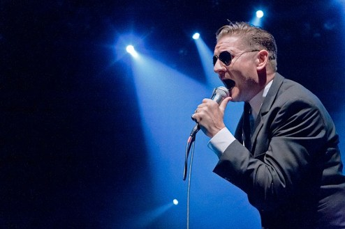 Douglas McCarthy of Nitzer Ebb performs at the Gramercy Theatre in NYC