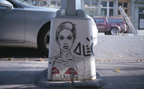 twiggy street art by alec in SoHo, NYC