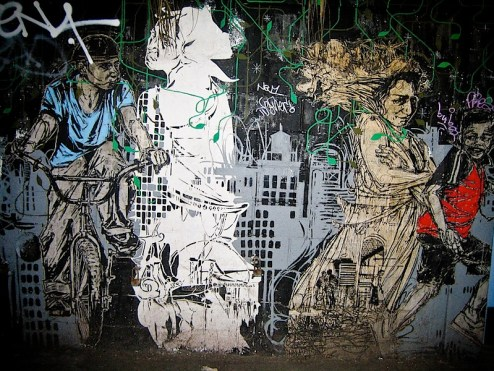 street art by swoon on the streets of NYC