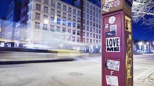 a street art graffiti sticker by love me found on houston st in nyc