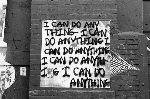 i can do anything graffiti on the candy factory in SoHo
