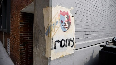 obey irony street art found in the meatpacking district of nyc - by shepard fairey or more likey someone else