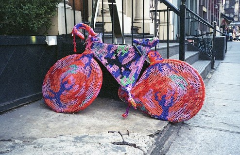 olek knit bombing on the streets of NYC