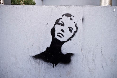 a twiggy street art graffiti stencil in SoHo, NYC