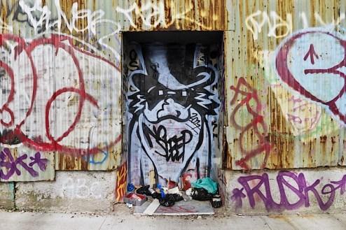 no sleep graffiti found in brooklyn, nyc