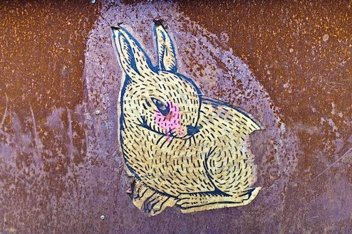bunny street art found in NYC