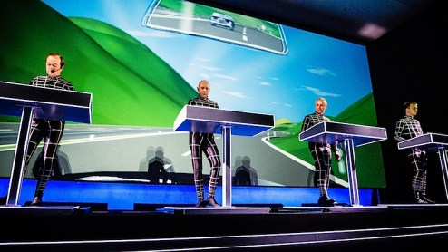 A photo of Kraftwerk performing at MoMA in NYC