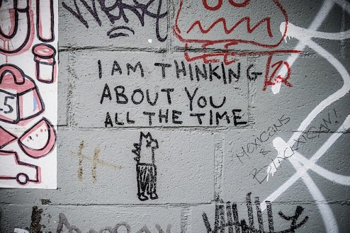i am thinking about you all the time graffiti found in NYC