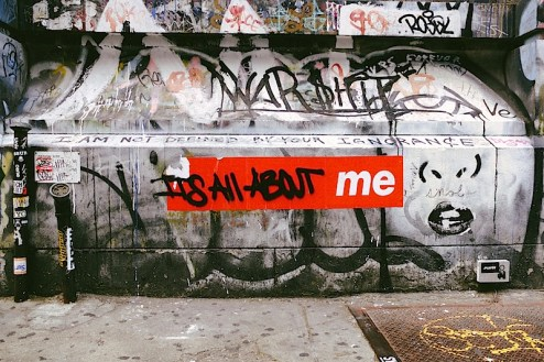 it's all about me graffiti found on jay maisel's loft on the bowery in NYC