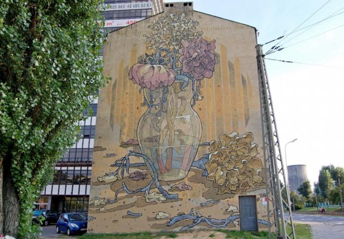 2 Galeria Urban Art Forms in Lodz, Poland. By Aryz 2