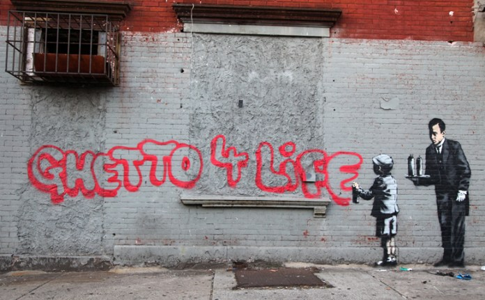 Street Art By Banksy in South Bronx, New York, USA 1